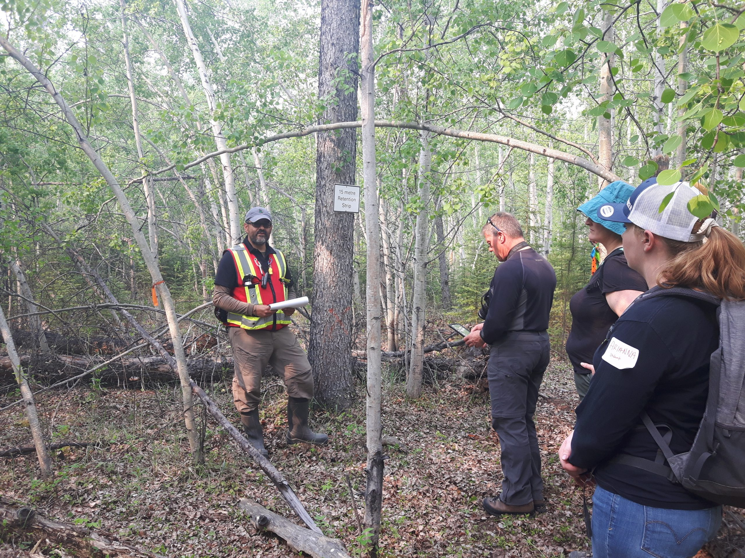 A group of foresters touring an experimental forest