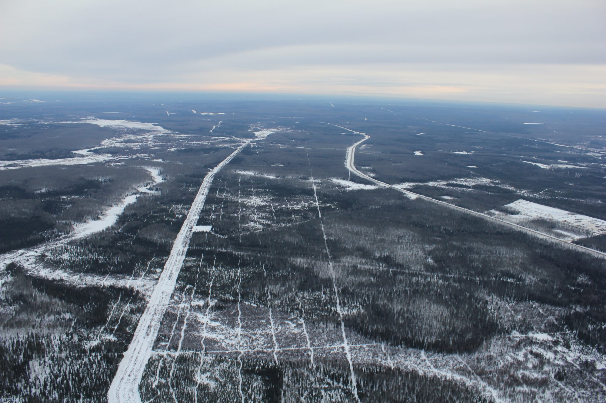 Aerial view of Stony 800 study area landscape in winter