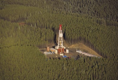 A oil well drill site aerial view